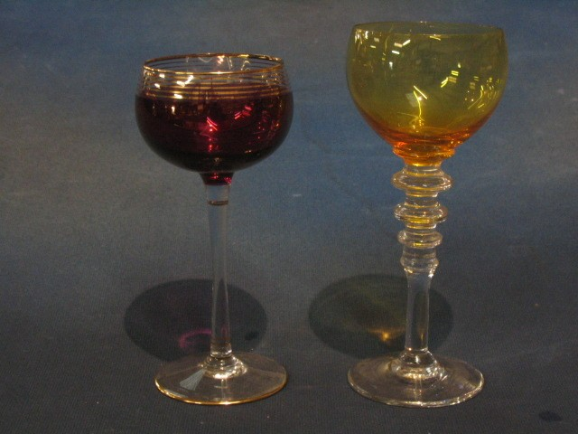 Lot No 699 A Set Of 6 Long Stemmed Hock Glasses With Amber