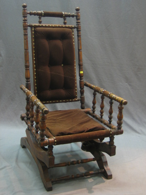 Lot No 2 A 19th Century American Turned Mahogany Rocking Chair