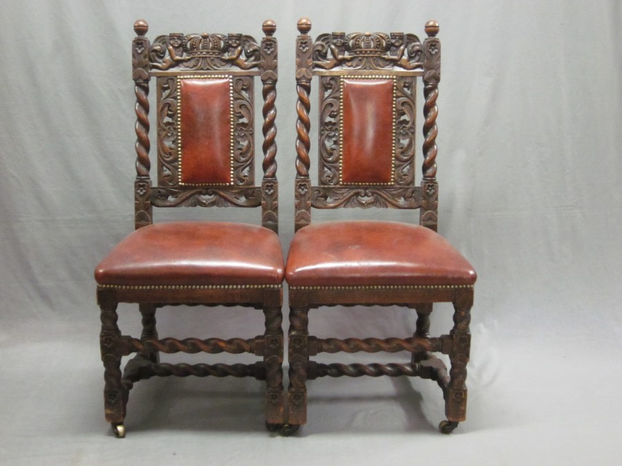 Lot No 163 A Pair Of Victorian Carved Oak Carolean Style High Back Chairs Wit