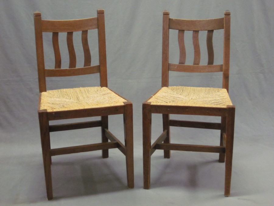 Set of Seven Antique Ladderback Dining Chairs with Rush Seats