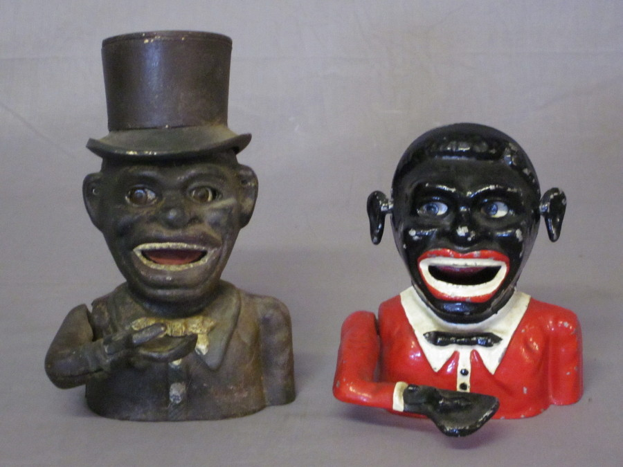 Lot No 173 2 reproduction Jolly Nigger money boxes £30-50: denhams.com/search.php?searchtext=money
