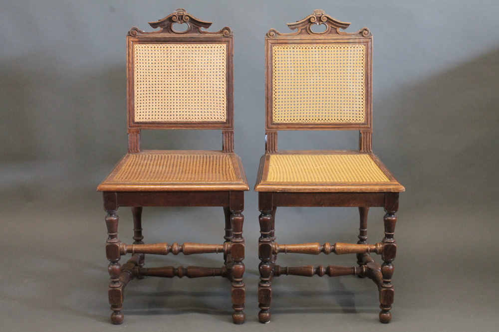 Lot No 79 A Set Of 6 Continental Carved Oak Dining Chairs With Woven Cane Sea