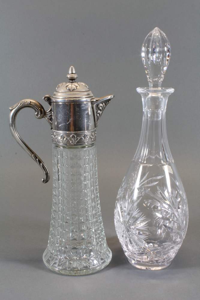 S All Glass Moulded Claret Jug
