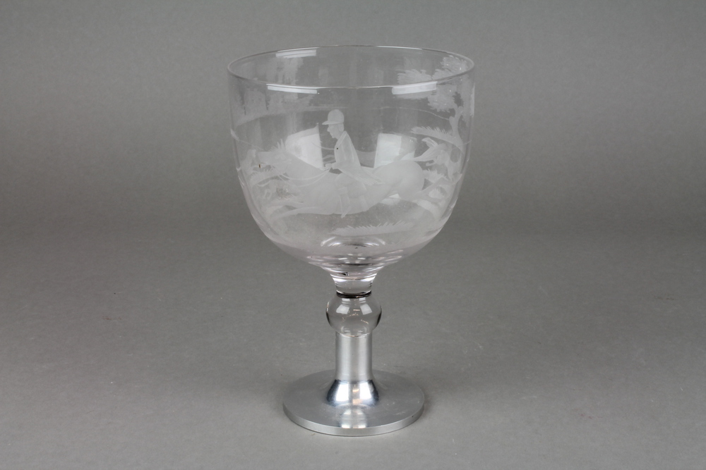 Lot No 76 A Cut Glass Wine Goblet Decorated With A Fox