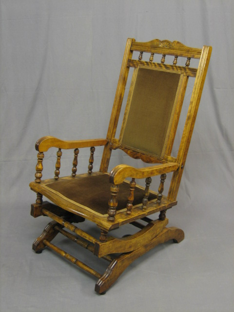 A 19th Century mahogany American rocking chair with | 23rd August 2006 |  Denhams - A - Antique American Rocking Chair Antique Furniture
