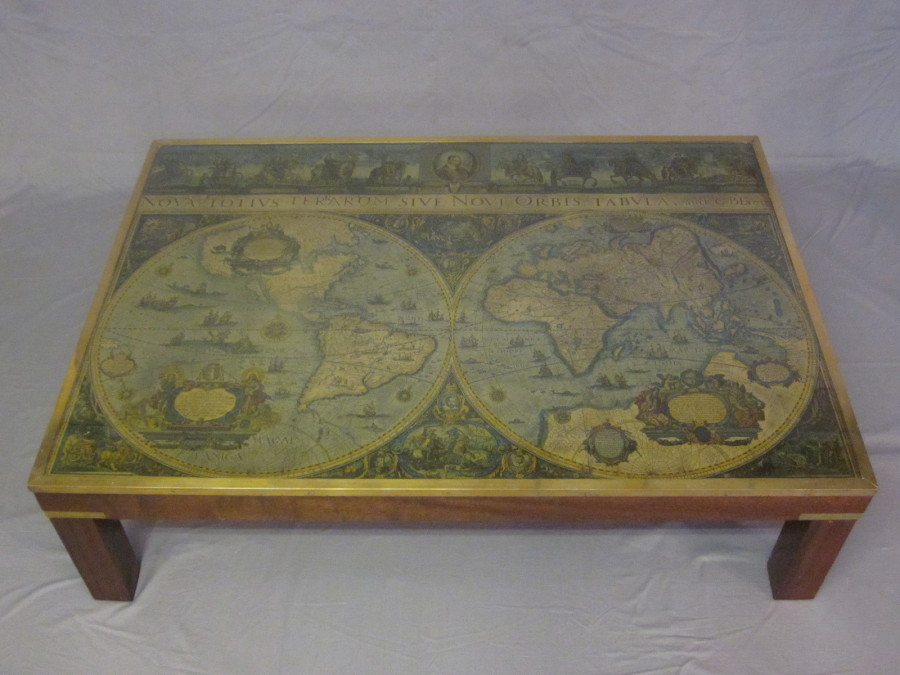 Old World Map Coffee Table.A Rectangular Mahogany Coffee Table The Top Inset A 16th March