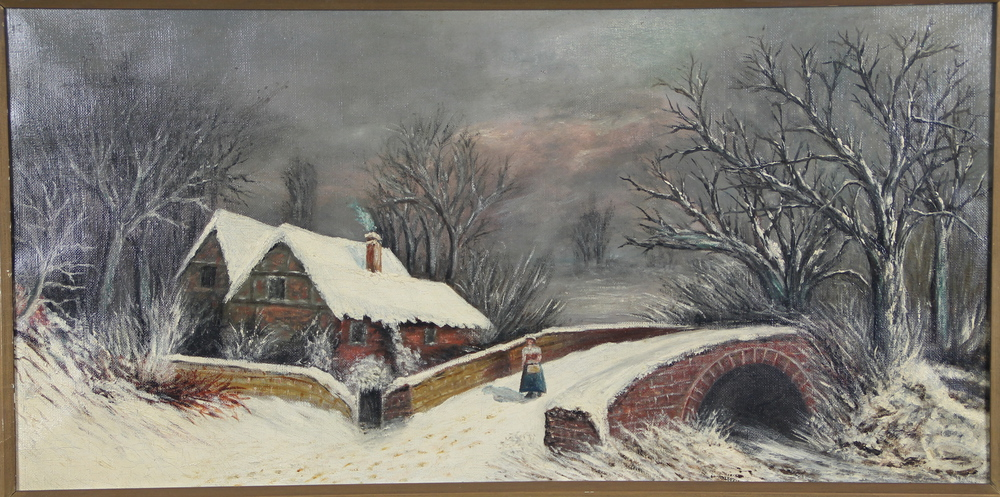 A Victorian Oil Painting A Naive Winter Scene With A