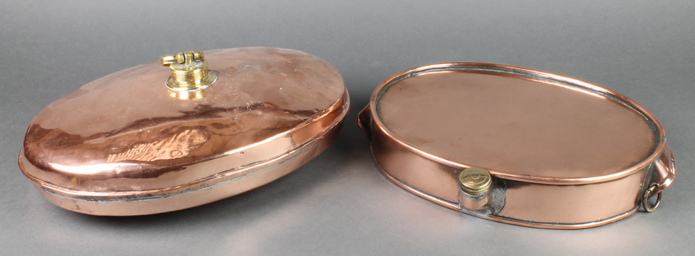 Fabric Plate Warmer ~ A victorian oval copper and brass foot warmer quot
