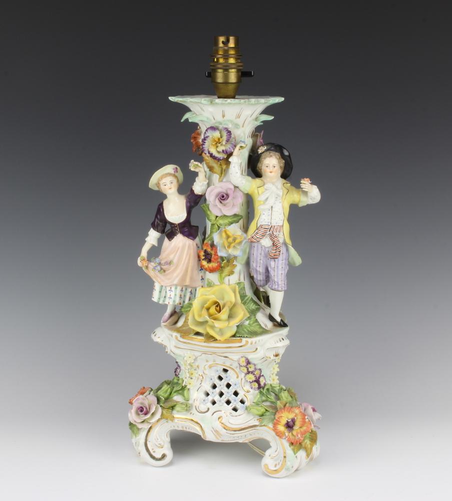Lot Art   Dresden Porcelain Table Lamps